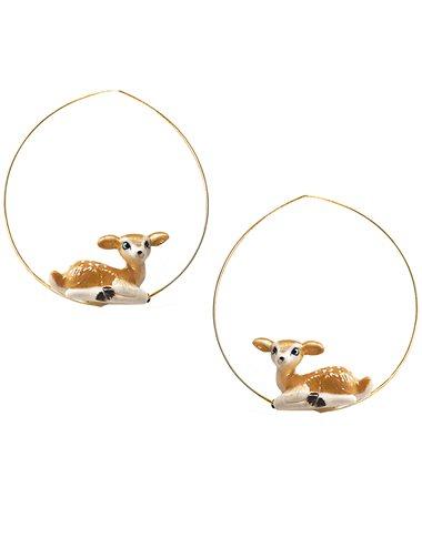 Deer hoop earrings