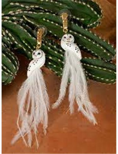 Owl earrings - white