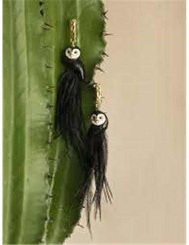 Owl earrings - black