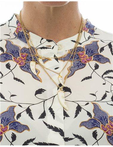 Collar multicadena abalorios cuernos