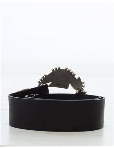 ABIGAIL - Cinturón hebilla bolitas - neg
