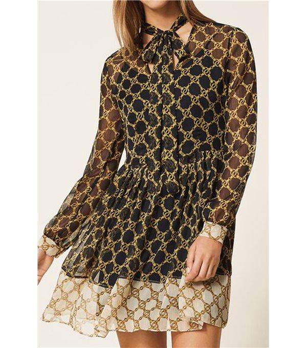 Printed chain gauze dress