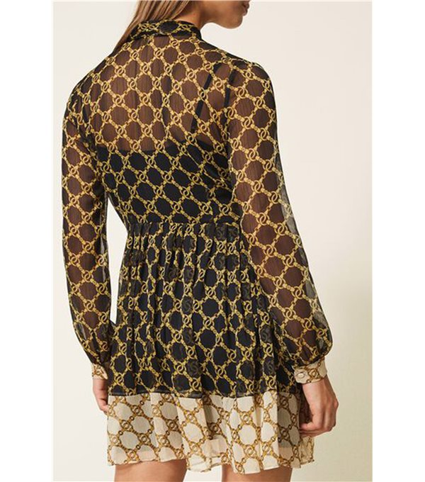 Printed chain gauze dress