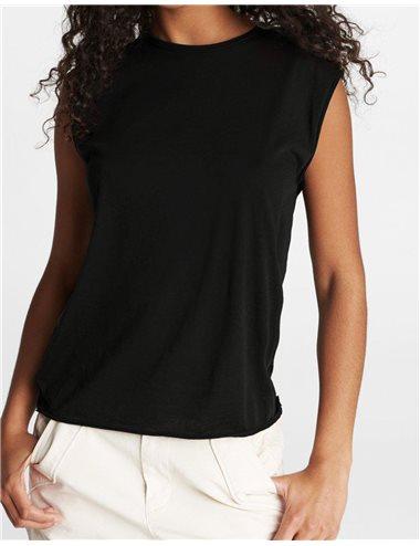 T-shirt sm amplia cuello redondo - negro