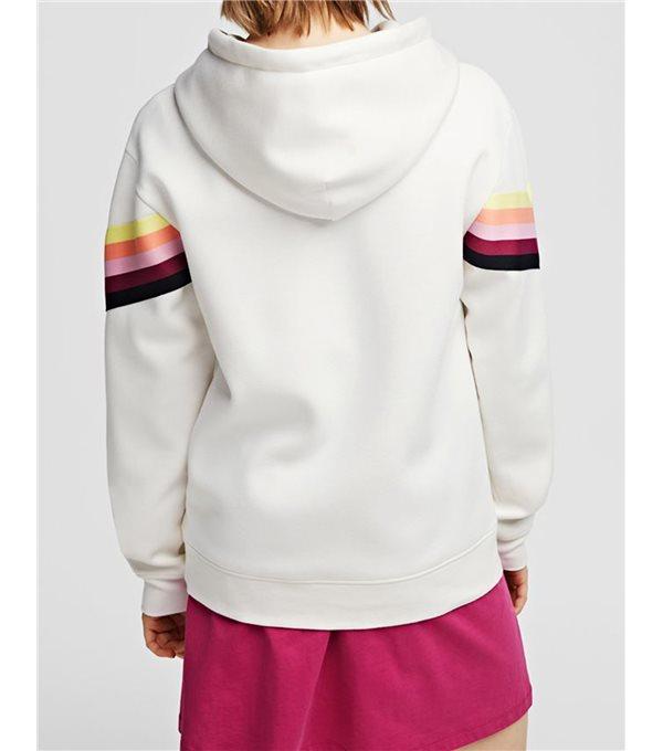 Sudadera capucha rayas logo