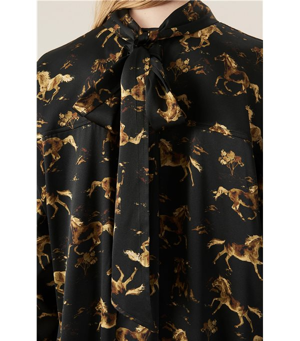 Vestido satinado caballos