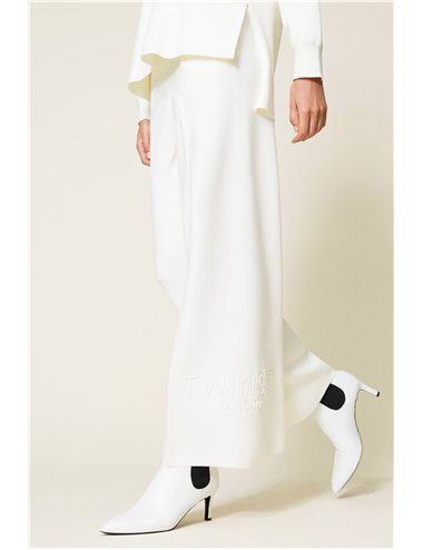 Pantalón punto amplio - blanco