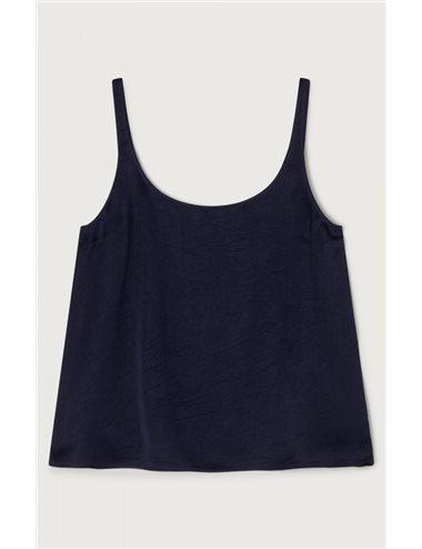Satin top - navy blue