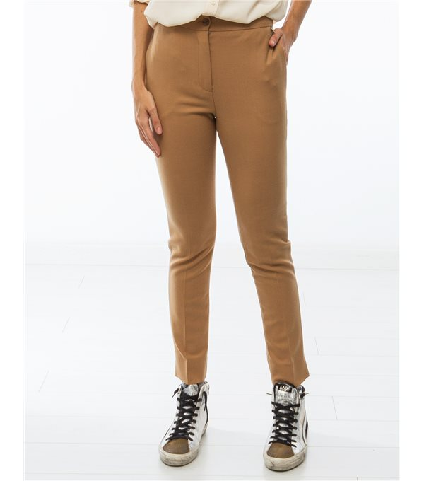 Pantalón lana recto-camel