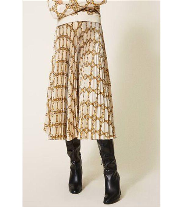 Falda plisada cadenas-crudo